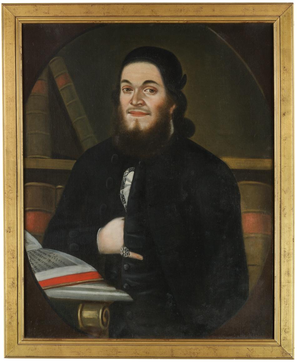 Portrét Wolfa Moschelese (1744-1812), učence a představeného pražské Židovské obce, syna Joachima Mosese Moschelese a jeho manželky Relle roz. Jitschin (1745-1810), dcery představeného pražské Židovské obce Löwa Jitschina
