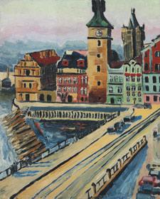 Hanuš Kolben: Staroměstské mlýny v Praze, kolem 1938