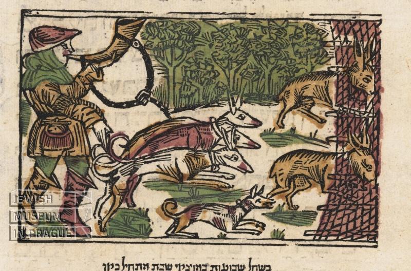 Hymny pro šabat a požehnání po jídle, s ilustrací honu na zajíce. Praha, Geršom ben Šlomo ha-Kohen, Meir ben Jaakov ha-Levi Epstein, Chajim ben David Šachor, Meir ben David, 1514.