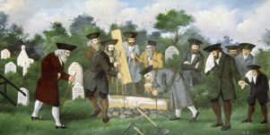 Anonym: Spouštění rakve do hrobu, kolem 1780