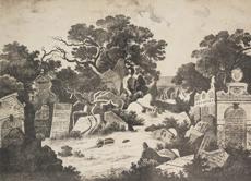 Max Haushofer, Leopold Rottmann: Pohled na Starý židovský hřbitov v Praze, 1845