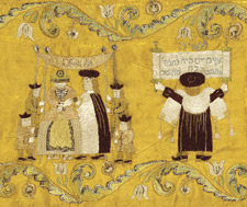 Wedding Ceremony – detail from a Torah binder, Austria (?), 1750