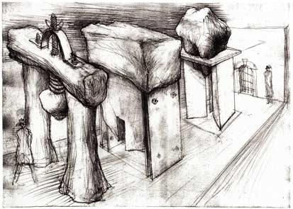 Přípravná kresba k projektu Tři brány, 2003