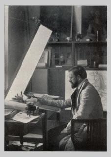 Emil Orlik u ryteckého stolu (kolem 1920)