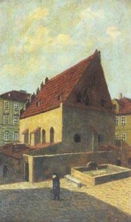 A. Kohn: Staronová synagoga a Dřevný plácek z jihovýchodu
