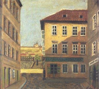 A. Khon: Vyústění Josefovské třídy na Valentinské náměstí s výhledem na Pražský hrad