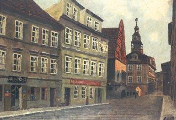 A. Kohn: Staronová synagoga a Židovská radnice z Rabínské ulice