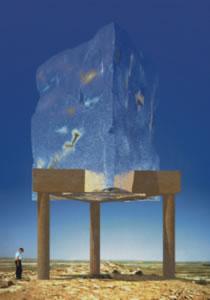 Aleš Veselý: Kadesh Barnea Monument (varianta s ocelovým blokem na kamenné konstrukci) – počítačová simulace / 1998