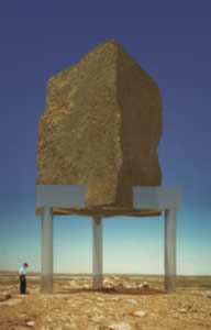 Aleš Veselý: Kadesh Barnea Monument (varianta s kamenným blokem na ocelové konstrukci) – počítačová simulace / 1998