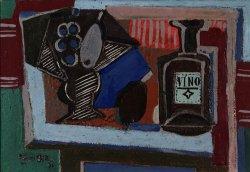 Emil Filla: Zátiší s podnosem a lahví vína, 1931