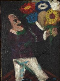 Autoportrét s kyticí, kolem 1930